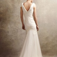 V Neck Soft A Line Gown with Hand Appliqued Lace - David's Bridal - mobile
