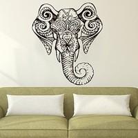 Wall Decals Elephant Indian Pattern Decal Vinyl Sticker Decor Home Interior Design Murals Bedroom Dorm Window MN317