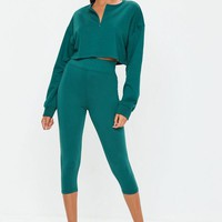 Missguided - Teal Zip Front Crop Top