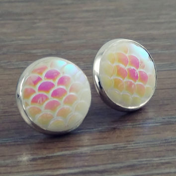 Mermaid Scales- ab opal white mermaid/ dragon scale earrings