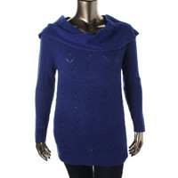 Jessica Simpson Womens Plus Knit Long Sleeves Tunic Sweater