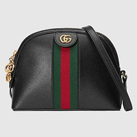 Gucci New Women Fashion Stripe Leather Handbag Shoulder Bag Crossbody Satchel Black