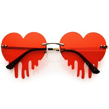 Cute Rimless Love Bleeding Heart Shaped Dripping Effect Tinted Lens Heart Sunglasses D078