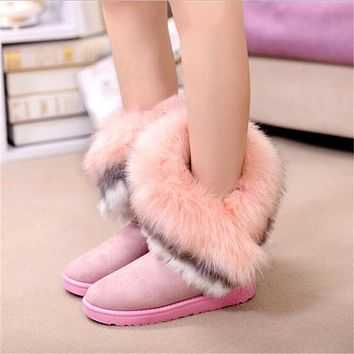 Women Flats Ankle Snow Boots Fur Boots Winter Warm Snow Shoes Woman Round-toe Female Flock Leather Women Shoes-1