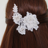 Bridal Hair Accessories, Wedding Head Piece, İvory Lace Beaded , Pearl Wedding Hair Accessories,Wedding HairPin