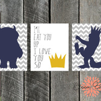 Group of 3 8x10 Printable Prints - Where the Wild Things Are I'll Eat you Up I Love You So - INSTANT Download