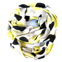 Polka Dot Infinity Scarf Light and Airy Double Loop Circle Eternity Scarf Yellow Black Tan Winter White Scarves Cute Women Teen Accessory