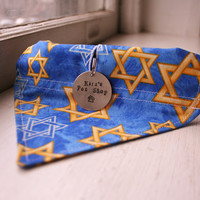 Handmade Dog Bandana with Space for Tags - Hanukkah Channukah Chanukah Jewish Star of David Velcro Over the Collar Dog Accessories Dog Scarf