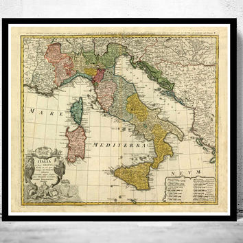 Old Map of Italy 1742 italia