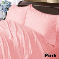 1000TC STRIPE PINK SHEET SET IN QUEEN SIZE - 100% EGYPTIAN COTTON
