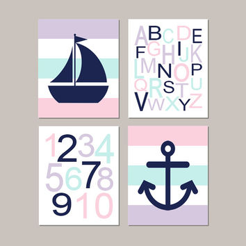 Nautical Nursery Decor, Baby Girl Nursery Art, Pink Navy Nursery, Alphabet Letters, Anchor Wall Decor, Set of 4 Prints Or Canvas