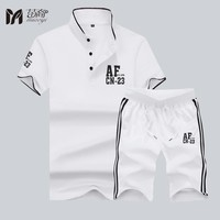 Men's T-shirt set Summer Brand Tshirt Men Solid high quality Sportsuit Set T-Shirt Suit Male Famous Brand Cotton Sportwear