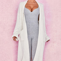 Clothing : Jackets : 'Celine' Off White Chenille Slouchy Cardigan
