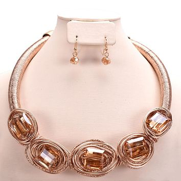 Chrome Trend Wired Shiny Beaded Set