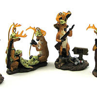 Comical Deer Hunter Ornaments 4 Assorted Priced Each