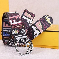 Fendi mens and womens F letter smooth buckle belt-2