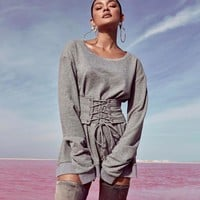 Women Fashion Simple Solid Color Bodycon Bandage Girdle Long Sleeve Middle Long Section Sweater Dress
