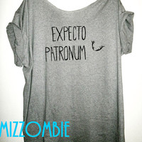 Expecto Patronum Deathly Hallows HARRY POTTER Spell Magic Off the shoulder loose fitting shirt regular and plus size