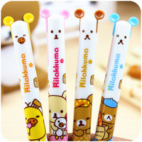 Cute Creative Plastic Double Colors Ballpoint Pen Kawaii Cartoon Rilakkuma Ball Pen Korean Stationery Free Shipping 2601