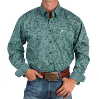 Men's Cinch Turquoise Paisley Print Buttondown Shirt