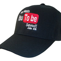 THS God Wants You To Be Saved Adjustable Baseball Cap(One Size, Black)