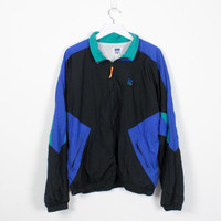 Vintage 1980s Windbreaker Jacket Black Blue Green In SPORT Track Jacket 80s Wind Breaker Bomber Jacket Color Block Athletic XL Extra Large