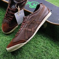 Best Online Sale Asics Onitsuka Tiger Sheepskin Shoes Dark Brown Sneaker