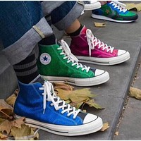 Converse x JW Anderson Trending Stylish New Color Matching Women Casual Flat High Help Sport Shoes  Sneakers I