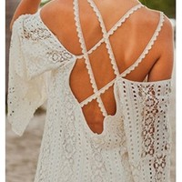White Lace Double Scallop Spaghetti Strap Long Sleeve Off The Shoulder Open Back Mini Dress