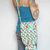 Mermaid Tail Purse in Turquoise and Tangerine, Crochet Cotton Sling Purse, Fully lined, ready to ship.