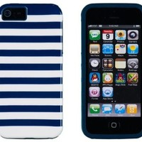DandyCase 2in1 Hybrid High Impact Hard Navy Blue & White Stripe Pattern + Silicone Case Case Cover For Apple iPhone 5S & iPhone 5 (not 5C) + DandyCase Screen Cleaner