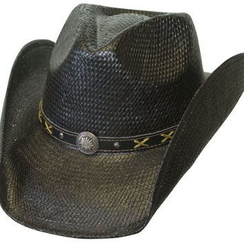 L/XL Black Toyo Straw Western Hat with Leather Concho Band