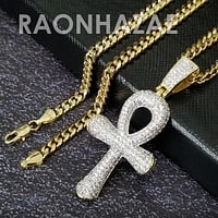 Hip Hop Blinged Out Ankh Cross Pendant w/ 5mm Miami Cuban Chain