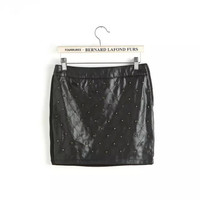 Black PU Leather Studded Pattern Zipper Mini Skirt