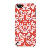 Blood Orange Flower Embossed Hard Case for Apple iPod Touch 5, 5G (5th Generation) - Includes DandyCase Keychain Screen Cleaner [Retail Packaging by DandyCase]