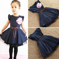 Girls Dresses Dark Blue Short Sleeve Dots Stripe Flower Kids Girl Dress SV002333|28001 Children's Clothing = 1930083140