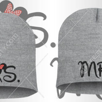 Mr Mrs Mickey Minnie Mouse Beanie Beanies Winter Hats Couple Beanies Matching Beanies Relationship Love Couple Clothing Matching Clothing