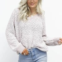 Get To It Mauve Popcorn Pullover Sweater