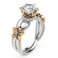 Beautiful Rose and Sunflower Flower Shaped Ring