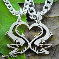 Alligator couples necklaces, Heart coin jewelry By Namecoins