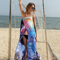 New Fashion Sexy Women Strapless Maxi Floral Sundress Evening Party Beach Long Dress Women Fashion Summer Beach Dress Bikini Swimwear Cover Up Sarong Sexy Wrap Pareo One Size  SV005916|40901 (Color: Blue) = 1946114436