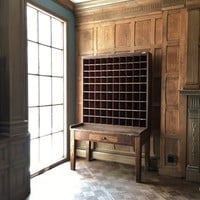 1924 Post Office Sorting Desk, Post Office Cabinet, Wood Post Office Box