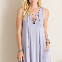 Front Tie Up Shift Dress
