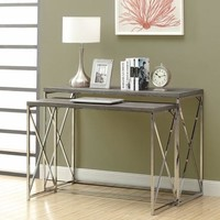 Dark Taupe Reclaimed-Look / Chrome 2Pcs Console Tables