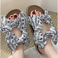 Explosive hot sale thick-soled bow satin fish worm slippers shoes