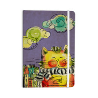 """Carina Povarchik """"Urban Cat With Scarf"""" Yellow Illustration Everything Notebook"""