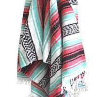 Del Mex (TM) Mint Seafoam and Pink Mexican Yoga Beach Blanket Vintage Style (Cali)