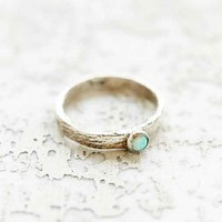 Rachel Pfeffer Designs Scratch Band + Opal Ring- Silver