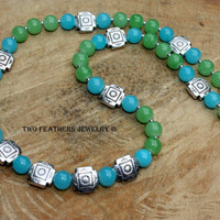Southwest Style Beaded Necklace - Turquoise Necklace - Green Necklace - Silver Necklace - Four Corners - Glass Necklace - Gift For Her