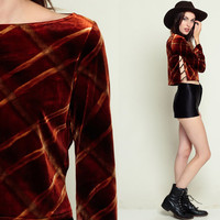 Velvet Top Long Sleeve Blouse Cut Out Top Crop Top Keyhole Shirt 90s Grunge CORSET Boho Hipster Lace up Bohemian Rust Brown Small xs